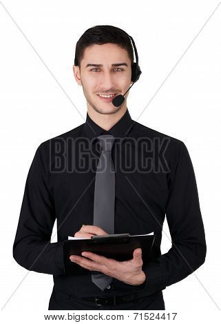 Call Center Man with Headset and Clipboard Isolated on White