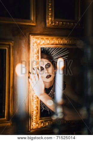 Mysterious Portrait Of Beautiful Goth Girl Looking Into Mirror