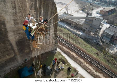 Sevastopol, Ukraine - February 22: Tea-drinking On Height Of Twenty Metres. Rescuer Training  Februa