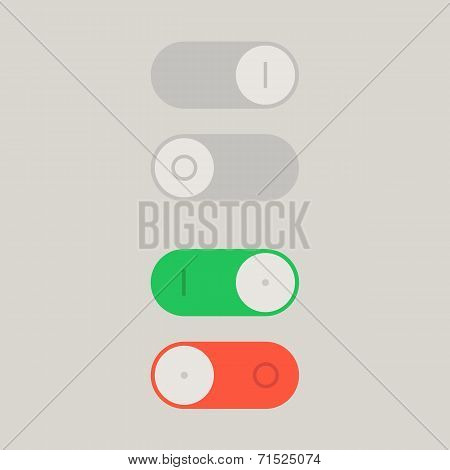 Toggle Switch On and Off position. Button, raster version