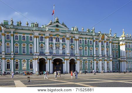 Winter Palace And Hermitage Museum In Saint Petersburg, Russia