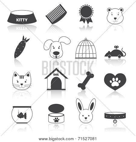 Pets icons set black