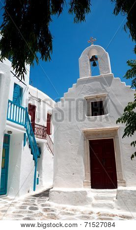 Belfry At Blue Sky On Mykonos  Island, Greece