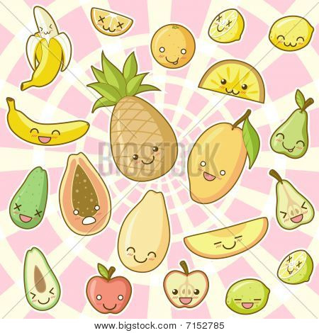 Food kawaii set Part 01 Fruits.