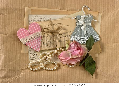 Old Post Cards, Flower, Heart And Perls Necklace