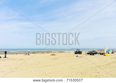 People On Sandy Beach Near Blonville-sur-mer