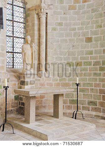 Statue In Church-abbey Of Mont Saint Michel.