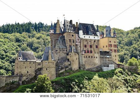 Castle Eltz On Green Hill Above Mosel River