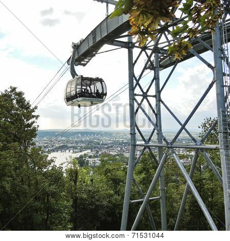 People In Koblenz Cable Car, Germany