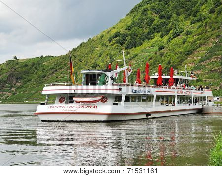 Excursion Boat Near Beilstein Town, Moselle River