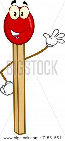 Happy Match Stick Cartoon Character Waving