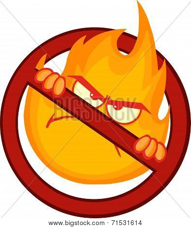 Stop Fire Sign With Angry Burning Flame