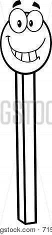 Black And White Smiling Match Stick Cartoon Character