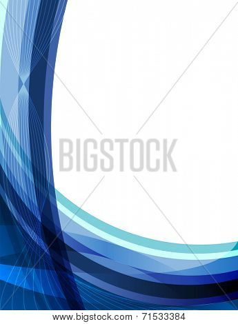 Abstract blue curvy stripes background with copy space.