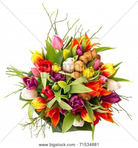 Bouquet Of Fresh Colorful Tulips Over White