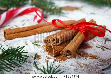 Christmas decoration, cinnamon and twigs Christmas trees