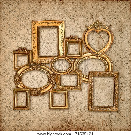 Golden Framework Over Vintage Pattern Wallpaper