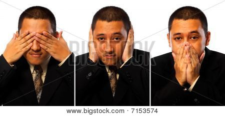 Hear, See, Speak No Evil Businessman