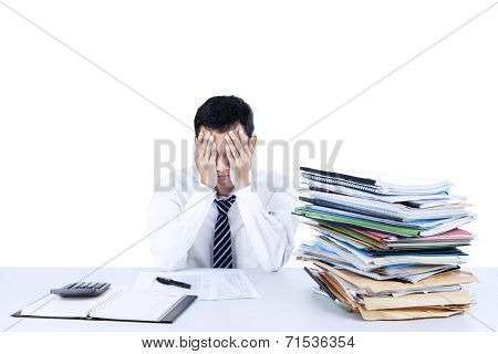 Young Businessman Overwhelmed