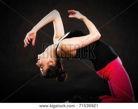 Theatrical Art. Girl Actress Doing Acting Exercise