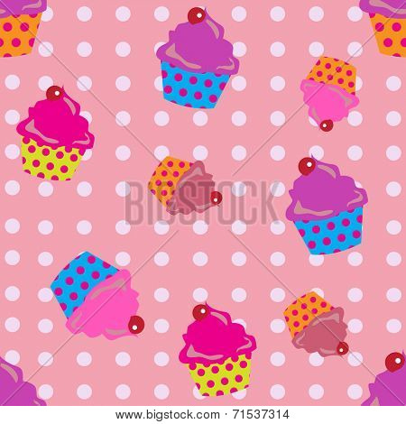 cute cupcakes seamless with polka dots background.