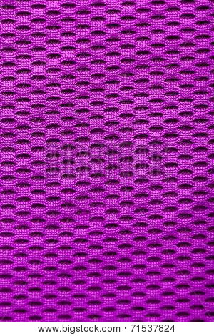 Synthetic Magenta Cloth. Grid Closeup. Macro