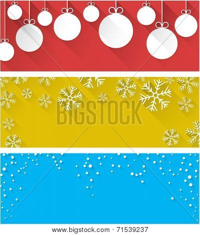 Winter abstract background with flat paper christmas balls. Vector illustration.
