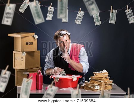 Businessman is laundering money in foam