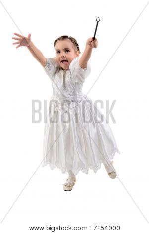 Little Girl Dressed As Fairy Or Princess. Studio Shoot Over White Background.