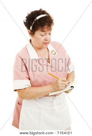 Waitress Writes Down An Order