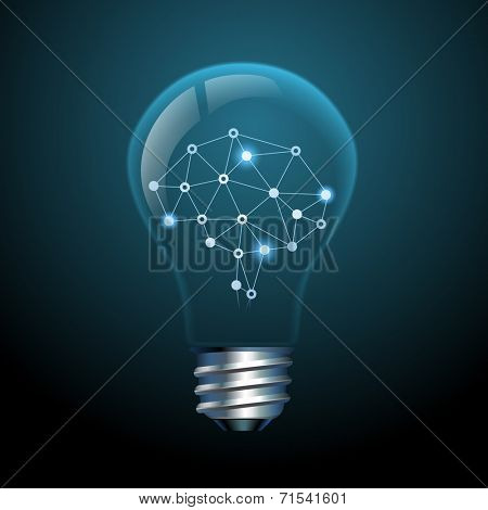 Concept of creative ideas, brain in a light bulb, eps10 vector