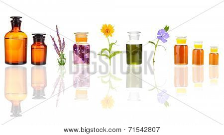 Collage of medicine bottle and herbs, isolated on white
