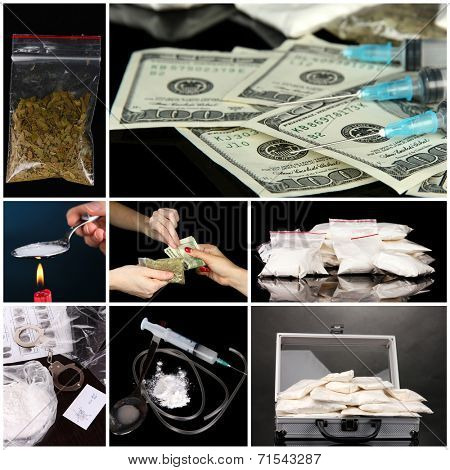 Drug addiction collage