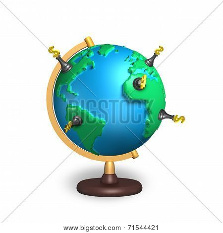 Dollar Chess And 3D Map Terrestrial Globe