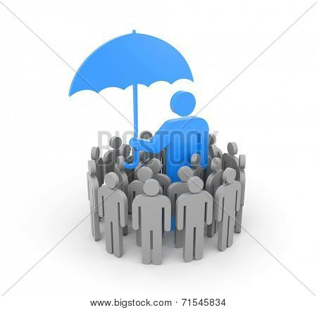 A man with umbrella, protects a group of people