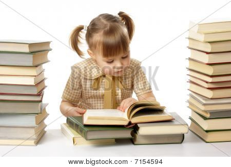 Cute Little Girl Reading Books, Back To School