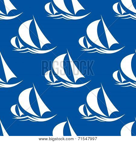Seamless pattern of yachts and sailing ship