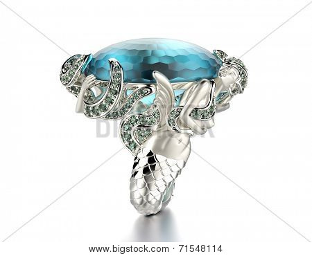 Golden Engagement Ring with Blue topaz. Jewelry background