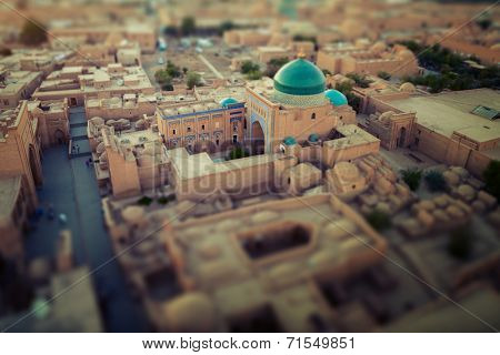 Ancient town of Itchan Kala in the middle of city of Khiva, Uzbekistan. Tilt shift effect used