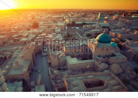 Ancient town of Itchan Kala in the middle of city of Khiva, Uzbekistan. Tilt shift lens used