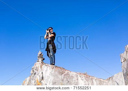 Man photographed at the camera
