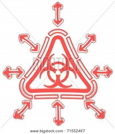 Red Triangle Biohazard Radiation Symbol In Isolated Background, Create By 3D