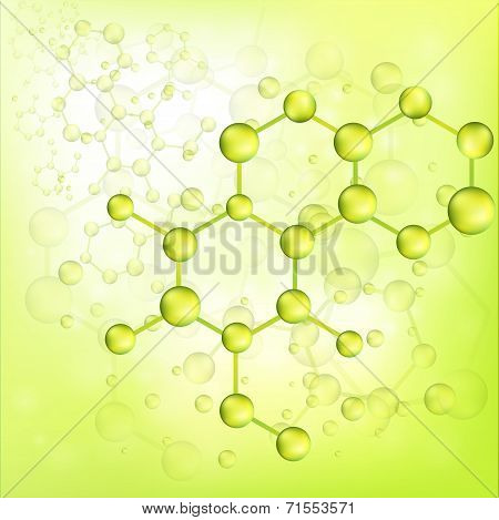 Green Molecule Bond Background (vector)
