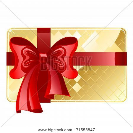 Gold Card With A Red Ribbon