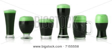 Different glasses of St. Patrick's Day beer