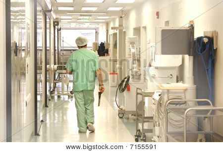 Doctor using srubs walking