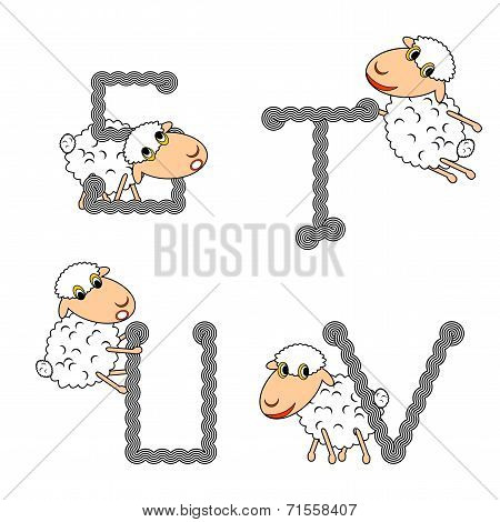 Design Abc With Funny Cartoon Sheep. Letters From S To V