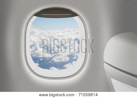 Aeroplane or jet interior with window and chair as traveling concept.
