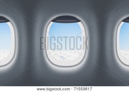 Three airplane or jet windows