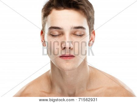 Naked Man Closed Eyes